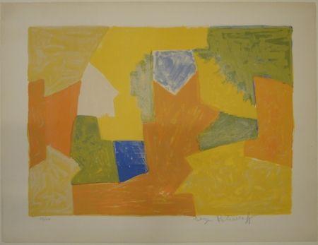 Lithograph Poliakoff - Composition jaune, orange et verte / Komposition Gelb, Orange und Grün.