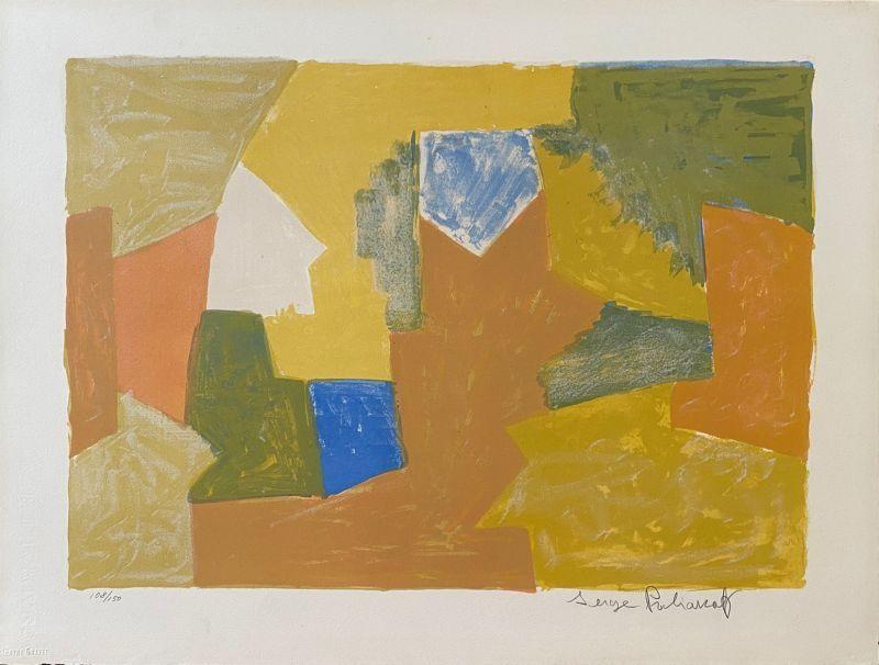 Lithograph Poliakoff - Composition jaune, Orange et Verte L14