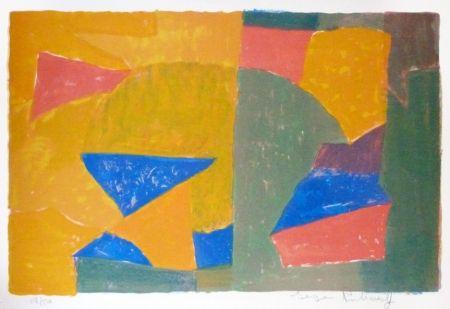 Lithograph Poliakoff - Composition jaune, verte, bleue et rouge