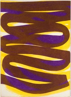 Etching And Aquatint Clement - Composition marron violet