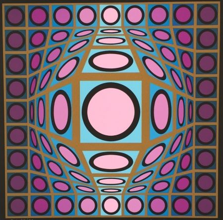 Screenprint Vasarely - Composition Microcosmos IV