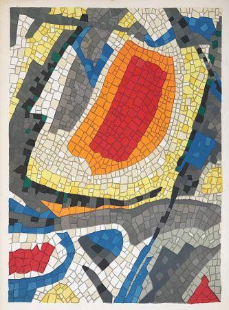 Lithograph Bazaine - Composition mosaïque
