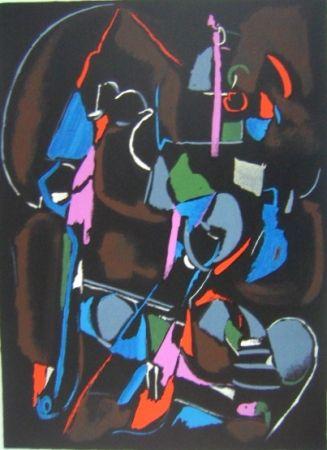 Lithograph Lanskoy - Composition noir