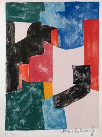 Lithograph Poliakoff - Composition noir, bleu et rouge