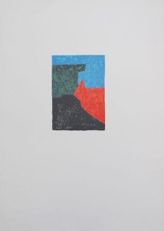 Lithograph Poliakoff - Composition noire, bleue et verte