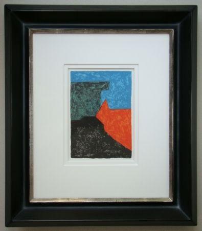 Lithograph Poliakoff - Composition noire, rouge, bleue et verte