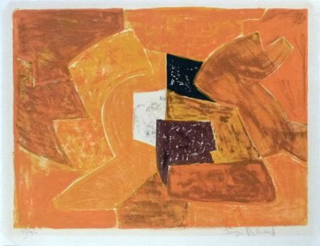 Lithograph Poliakoff - Composition orange n°23