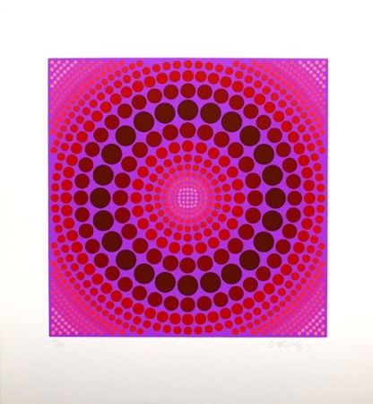 Screenprint Vasarely - Composition rose