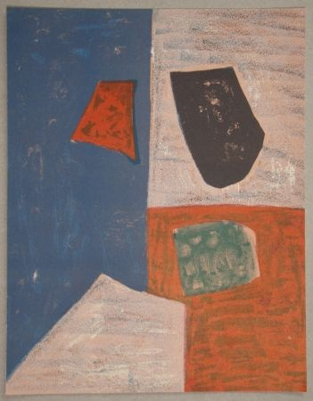 Lithograph Poliakoff - Composition rose, rouge et bleue