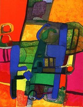 Lithograph Esteve - Composition rouge