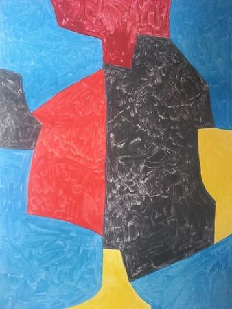 Lithograph Poliakoff - Composition rouge bleu jaune