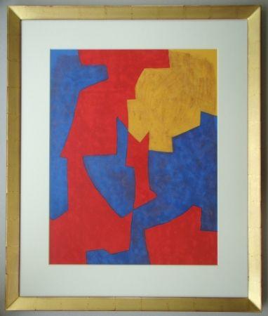 Lithograph Poliakoff - Composition rouge, bleue et jaune