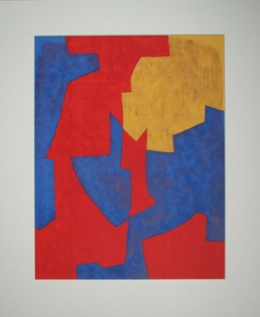Lithograph Poliakoff - Composition rouge, bleue et jaune