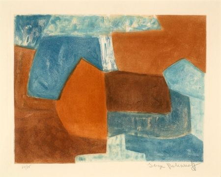 Etching And Aquatint Poliakoff - COMPOSITION ROUGE ET BLEU