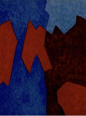 Lithograph Poliakoff - Composition rouge et bleu