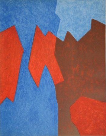 Lithograph Poliakoff - Composition rouge et bleue