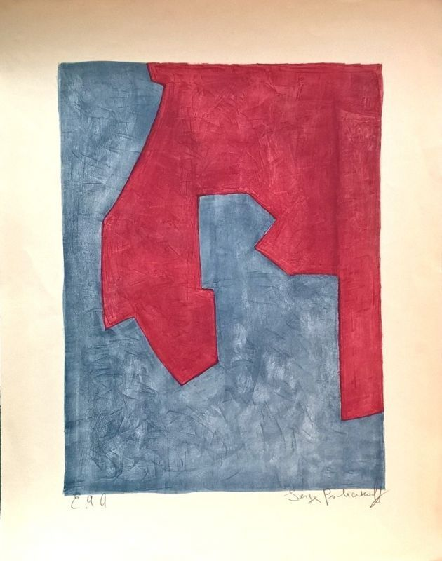 Lithograph Poliakoff - Composition Rouge et Bleue n°49