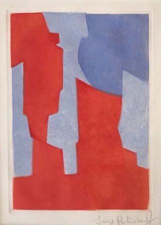 Etching And Aquatint Poliakoff - Composition rouge et bleue N° XX