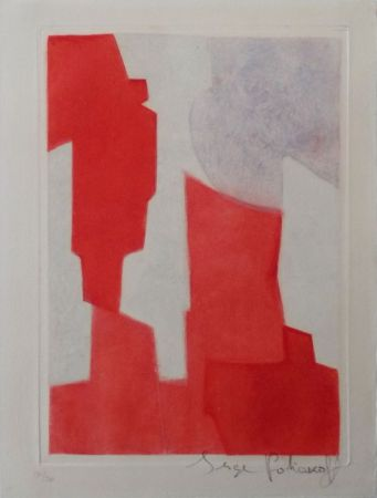 Etching And Aquatint Poliakoff - Composition rouge et bleue n°XX