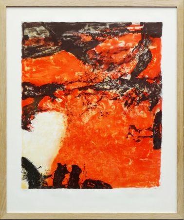 Lithograph Zao - Composition rouge et noir
