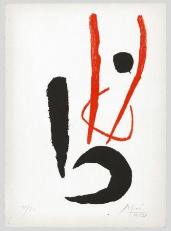 Lithograph Miró - Composition rouge et noire (Danseur / Dancing figure) 1952