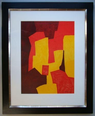 Lithograph Poliakoff - Composition rouge, jaune et brune