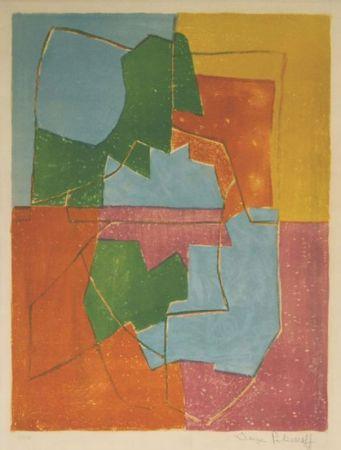 Lithograph Poliakoff - Composition Rouge Verte Bleue et Jaune n°12