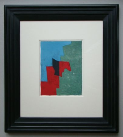 Lithograph Poliakoff - Composition rouge, verte et bleue