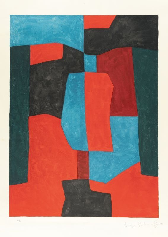 Lithograph Poliakoff - Composition rouge, verte et bleue n°76