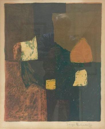 Lithograph Poliakoff - Composition rouge, verte et jaune n°7