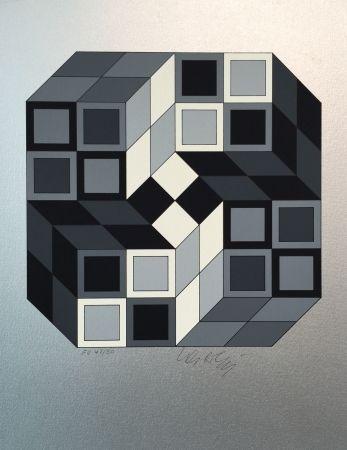 Screenprint Vasarely - Composition Silver