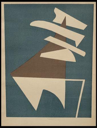Lithograph Magnelli - Composition sur fond bleu