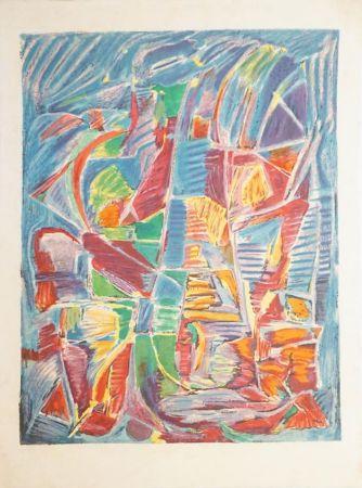 Lithograph Lanskoy - Composition sur fond bleu
