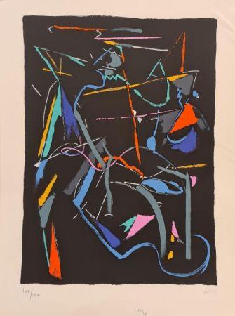 Lithograph Lanskoy - Composition sur fond Noir