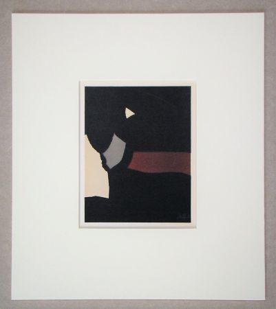 Lithograph De Stael - Composition sur fond noir