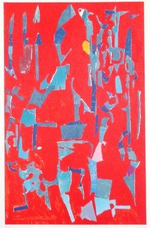 Lithograph Lanskoy - Composition sur fond rouge
