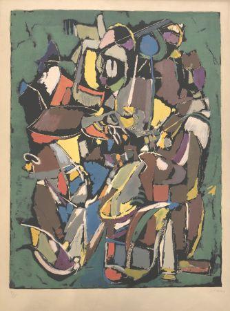 Lithograph Lanskoy - Composition sur fond vert
