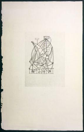 Engraving Dominguez - Composition surréaliste pour Poésie de Mots Inconnus (Iliazd 1949)