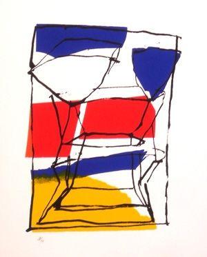 Screenprint Pincemin - Composition tricolore