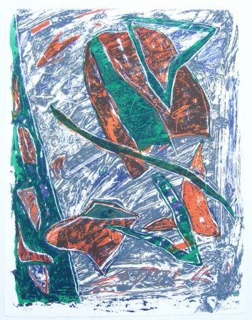 Lithograph Humair - Composition verte et rouge