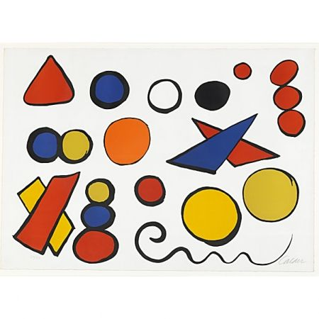 Lithograph Calder - Composition with Circles, Triangles and other Shapes