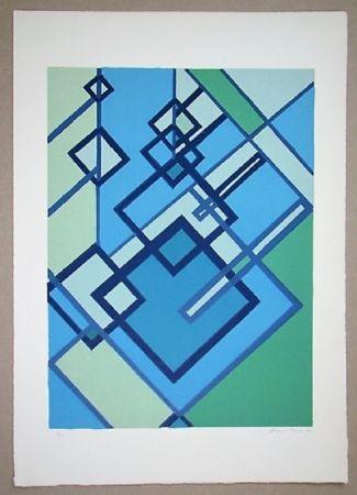 Lithograph Radice - Compositione astratta blu verde
