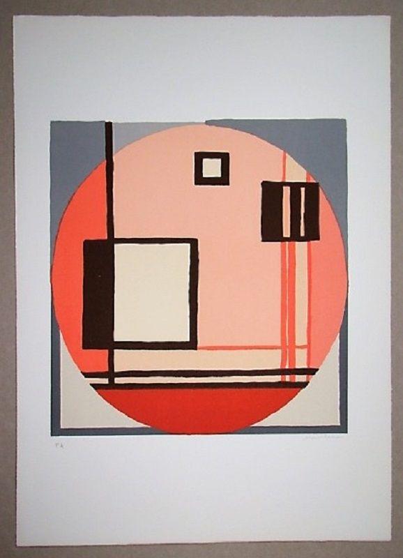 Lithograph Radice - Compositione astratta rosa