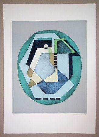 Lithograph Radice - Compositione astratta verde