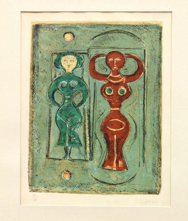 Lithograph Campigli - Composizione con due figure
