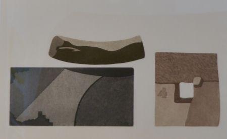 Etching And Aquatint Pomodoro - Composizione con tre forme in nero