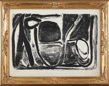 Lithograph Van Velde - Composizione in bianco e nero