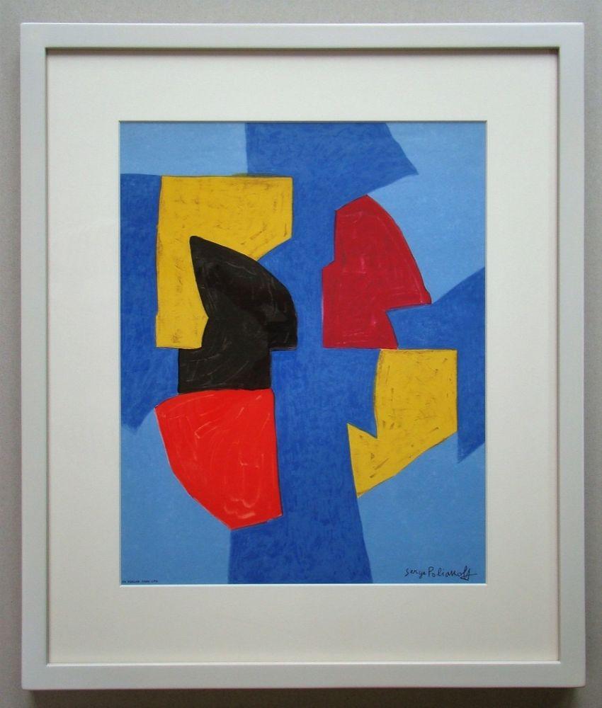 Lithograph Poliakoff - Compsition bleue, rouge et jaune