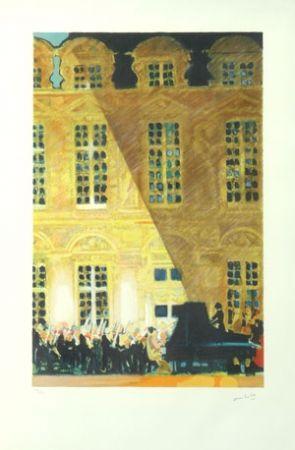 Lithograph Ambille - Concert au chateau