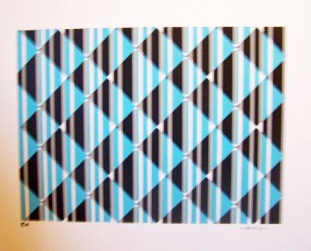 Screenprint Perez - Conposition cinétique turquoise